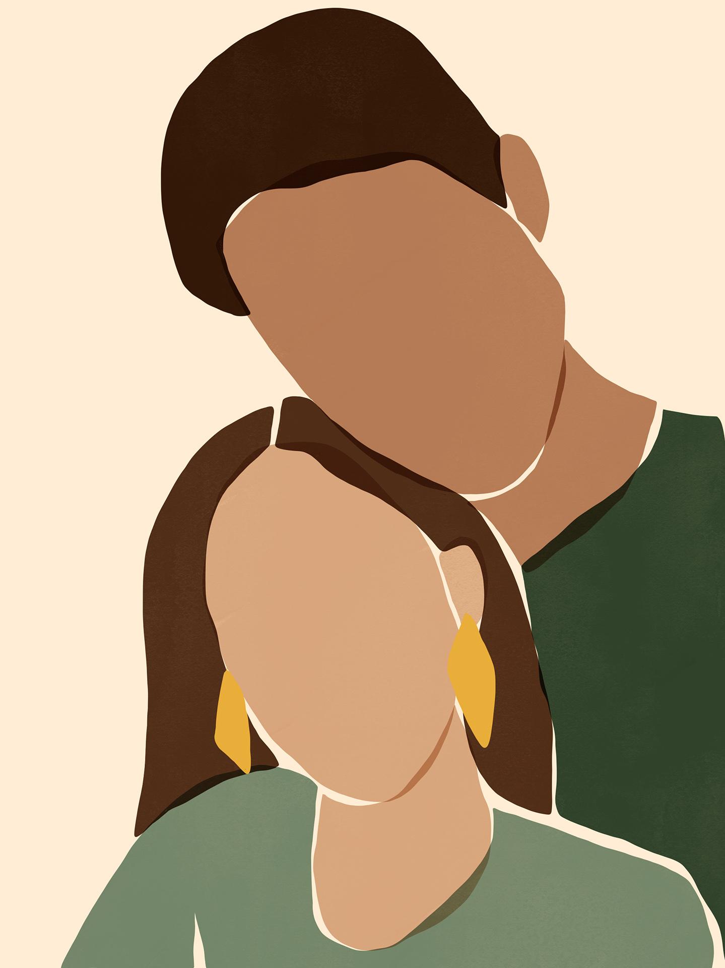 Portrait Couple Green Textur